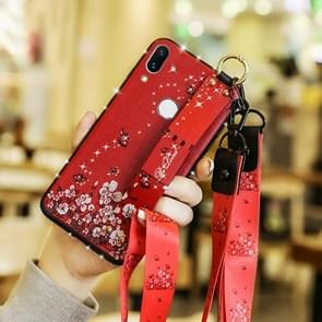 Fashion Cloth Texture TPU Protective Case with Wristband & Holder & Lanyard For Xiaomi 9(Butterfly Flower Red Pattern)