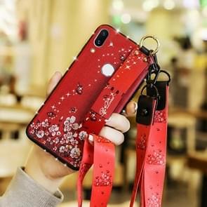 Mode doek textuur TPU beschermhoes met armband & houder & Lanyard voor Xiaomi 9 (Butterfly bloem rode patroon)