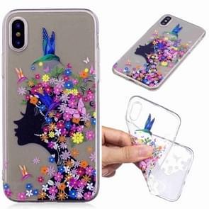 Geschilderde TPU beschermende case voor iPhone X & XS (bloemenmeisje patroon)