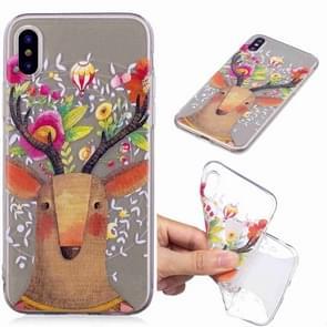 Geschilderde TPU beschermende case voor Galaxy S10 plus (Flower Deer)