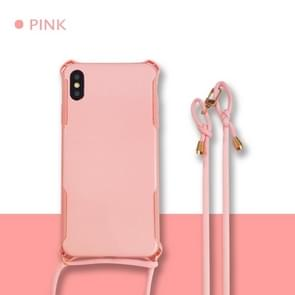 Colorful Candy Shockproof PET Back Cover+ TPU Frame Phone Protective Case With Lanyard Neck Strap Rope(Adjustable length: 113CM) For Huawei P30 Pro(Pink)