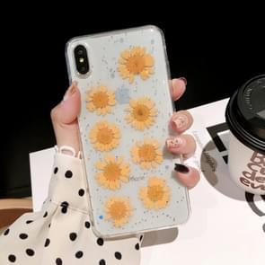 Daisy patroon echte gedroogde bloemen transparante zachte TPU cover voor iPhone XS Max (geel)