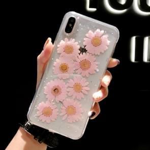 Daisy patroon echte gedroogde bloemen transparante zachte TPU cover voor iPhone XS Max (roze)