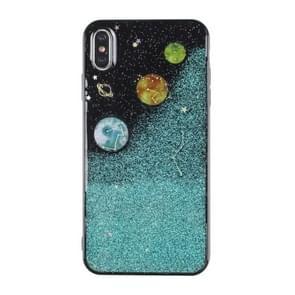 iPhone 7 Plus & 8 Plus Planeten patroon Kunststof back cover Hoesje (groen + zwart)