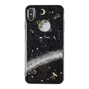 iPhone 7 Plus & 8 Plus Planeten patroon Kunststof back cover Hoesje (zwart)