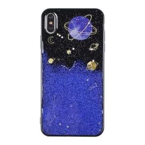 iPhone 7 Plus & 8 Plus Planeten patroon Kunststof back cover Hoesje (blauw + zwart)