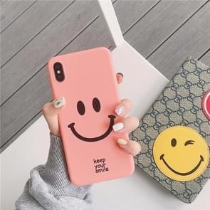 Leuke cartoon smiley gezicht TPU beschermende case voor iPhone XS Max (roze kleur)