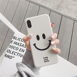 Cute Cartoon Smiley Face TPU Protective Case For iPhone XR(White color)
