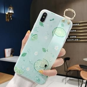 Lemon Pattern Wrist Strap TPU Case For iPhone X & XS(Lemon Pattern model C)