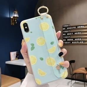 Lemon Pattern Wrist Strap TPU Case For Galaxy S9 Plus(Lemon Pattern model A)