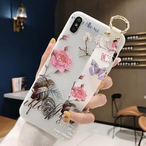 Bloemen patroon polsband zachte TPU beschermende case voor iPhone 8 plus & 7 Plus (bloemen polsband model B)