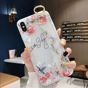Bloemen patroon polsband zachte TPU beschermende case voor iPhone 8 plus & 7 Plus (bloemen polsband model C)