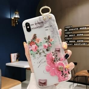 Flowers Pattern Wrist Strap Soft TPU Protective Case(Flowers Wrist strap model D)