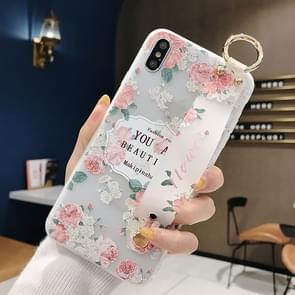 Flowers Pattern Wrist Strap Soft TPU Protective Case For Huawei Mate 20 Pro(Flowers wrist strap model A)