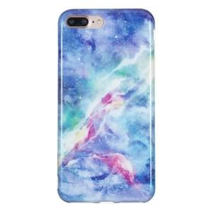 iPhone 7 Plus & 8 Plus Blauw roze nebula patroon TPU back cover Hoesje