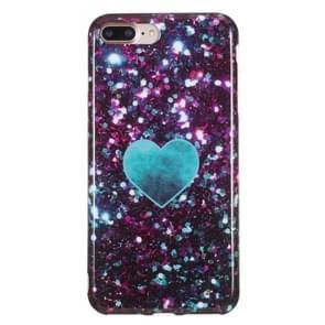 iPhone 7 Plus & 8 Plus Groen blauw LOVE hartje patroon TPU back cover Hoesje