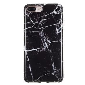 iPhone 7 Plus & 8 Plus Zwart marmer patroon TPU back cover Hoesje