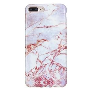 iPhone 7 Plus & 8 Plus Rood wit marmer patroon TPU back cover Hoesje