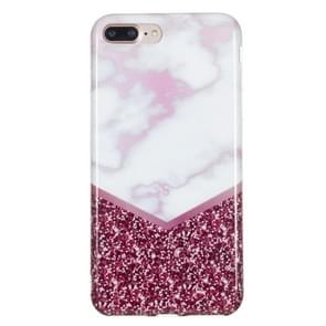 iPhone 7 Plus & 8 Plus Roze marmer patroon TPU back cover Hoesje
