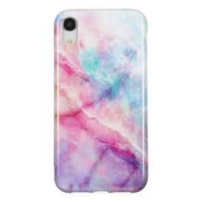 TPU Protective Case For iPhone XR(Pink Green Marble)
