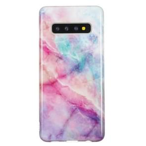 TPU Protective Case For Galaxy S10(Pink Green Marble)
