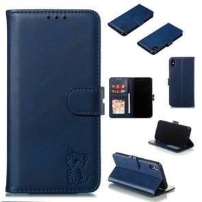 Lederen beschermhoes voor iPhone XS Max (blauw)