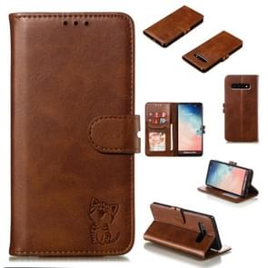 Leather Protective Case For Galaxy S10 Plus(Brown)