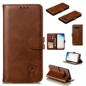 Leather Protective Case For Galaxy S10(Brown)