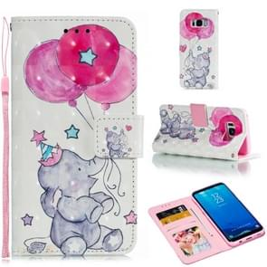 Leather Protective Case For Galaxy S8(Elephant balloons)