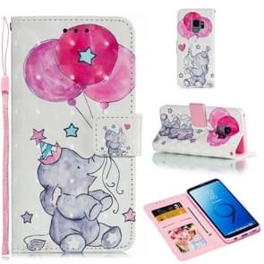Leather Protective Case For Galaxy S9(Elephant balloons)