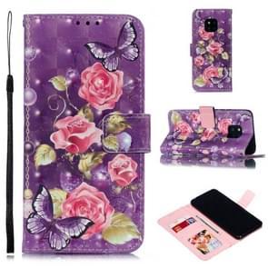Leather Protective Case For Huawei Mate 20 Pro(Purple Flowers)