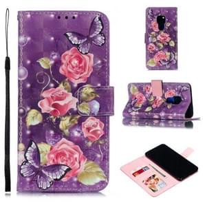 Lederen beschermhoes voor Huawei mate 20 (paarse bloemen)
