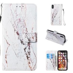 Lederen beschermhoes voor iPhone X & XS (wit marmer)