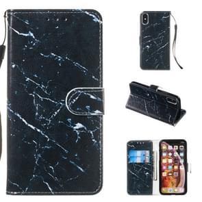 Lederen beschermhoes voor iPhone X & XS (zwart marmer)