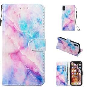 Lederen beschermhoes voor iPhone X & XS (blauw roze marmer)