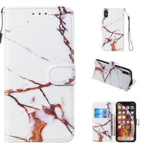 Lederen beschermhoes voor iPhone X & XS (witgoud marmer)