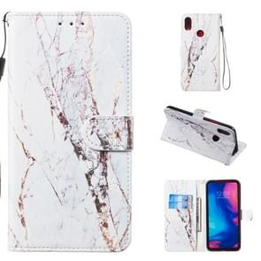Leather Protective Case For Redmi Note 7(White Marble)