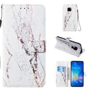 Lederen beschermhoes voor Huawei mate 20 (wit marmer)