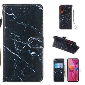 Lederen beschermhoes voor Huawei P30 (zwart marmer)