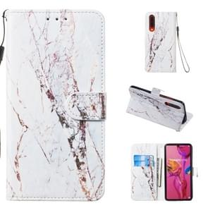 Leather Protective Case For Huawei P30(White Gold Marble)