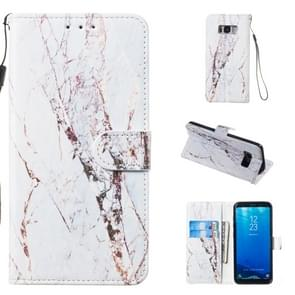 Leather Protective Case For Galaxy S8(White Marble)