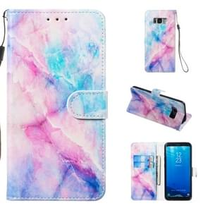 Leather Protective Case For Galaxy S8(Blue Pink Marble)