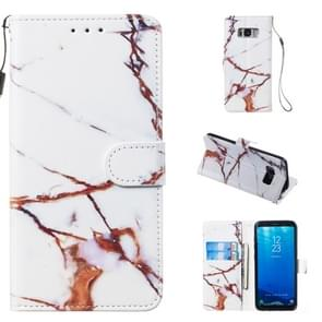 Leather Protective Case For Galaxy S8(White Gold Marble)