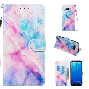 Leather Protective Case For Galaxy S8 Plus(Blue Pink Marble)