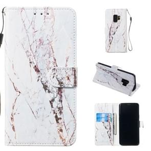 Leather Protective Case For Galaxy S9(White Marble)