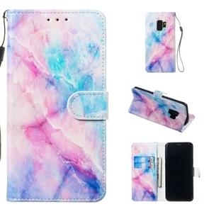 Leather Protective Case For Galaxy S9(Blue Pink Marble)