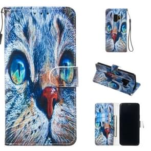 Leather Protective Case For Galaxy S9(Blue Cat)