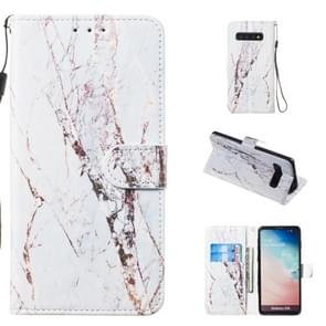 Leather Protective Case For Galaxy S10(White Marble)