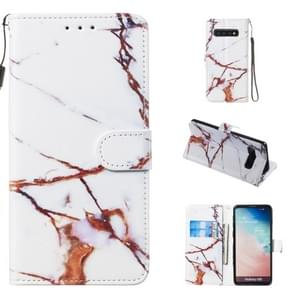 Leather Protective Case For Galaxy S10(White Gold Marble)