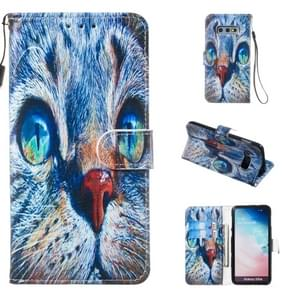 Leather Protective Case For Galaxy S10e(Blue Cat)